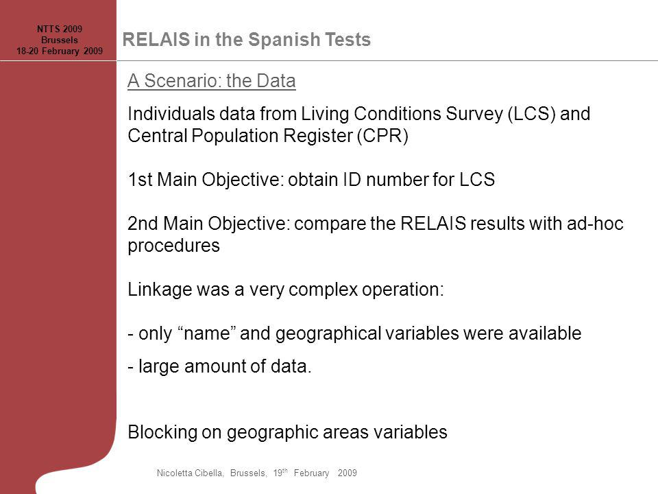 A Scenario: the Data Individuals data from Living Conditions Survey (LCS) and Central Population Register (CPR) 1st Main Objective: obtain ID number for LCS 2nd Main Objective: compare the RELAIS results with ad-hoc procedures Linkage was a very complex operation: - only name and geographical variables were available - large amount of data.