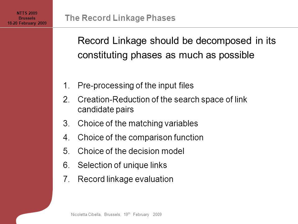 The Record Linkage Phases Record Linkage should be decomposed in its constituting phases as much as possible 1.Pre-processing of the input files 2.Cre