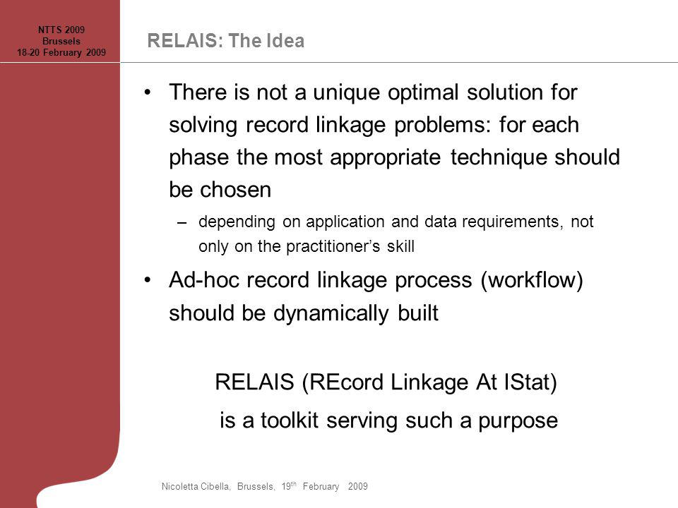 RELAIS: The Idea There is not a unique optimal solution for solving record linkage problems: for each phase the most appropriate technique should be c