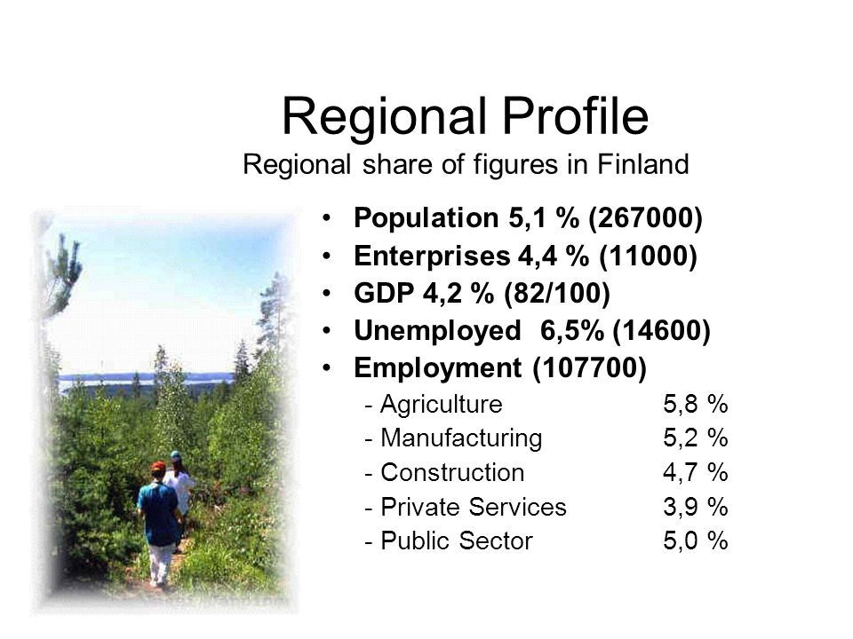 Regional Profile Regional share of figures in Finland Population 5,1 % (267000) Enterprises 4,4 % (11000) GDP 4,2 % (82/100) Unemployed 6,5% (14600) Employment (107700) - Agriculture5,8 % - Manufacturing5,2 % - Construction4,7 % - Private Services3,9 % - Public Sector5,0 %