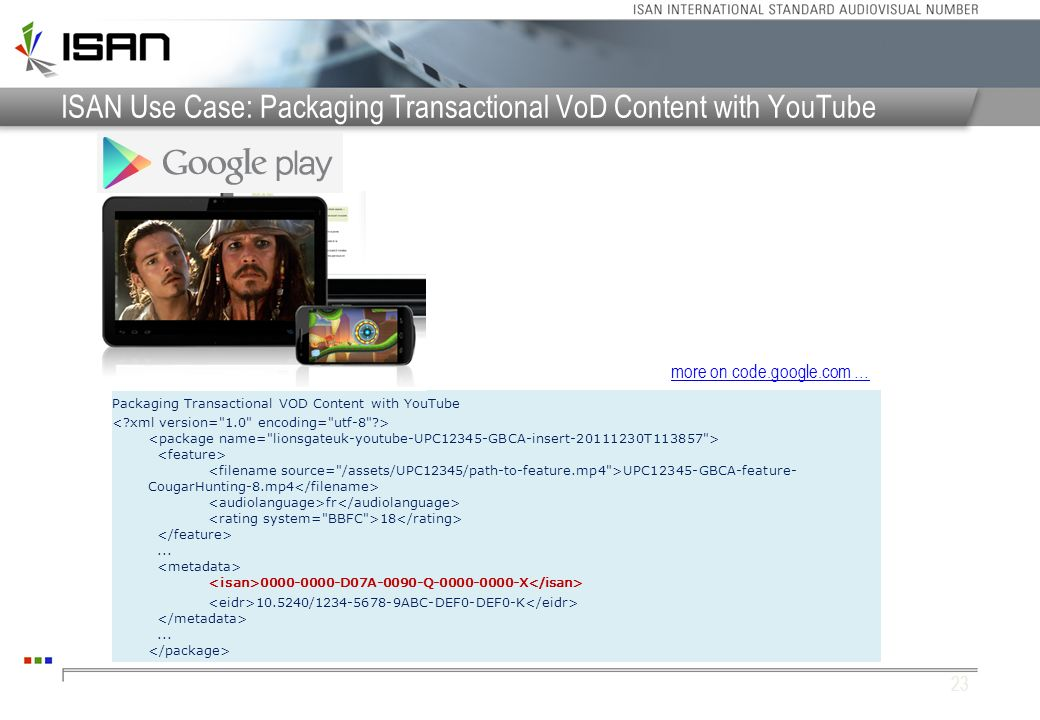 ISAN Use Case: Packaging Transactional VoD Content with YouTube Packaging Transactional VOD Content with YouTube UPC12345-GBCA-feature- CougarHunting-