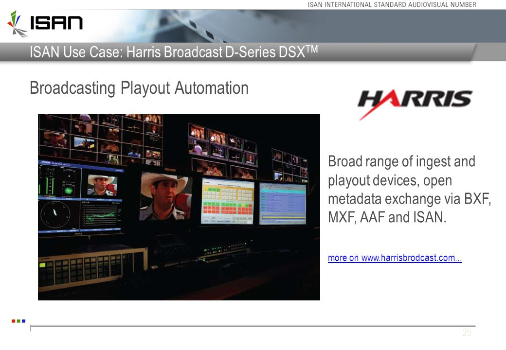 ISAN Use Case: Harris Broadcast D-Series DSX TM Broadcasting Playout Automation 25 Broad range of ingest and playout devices, open metadata exchange v