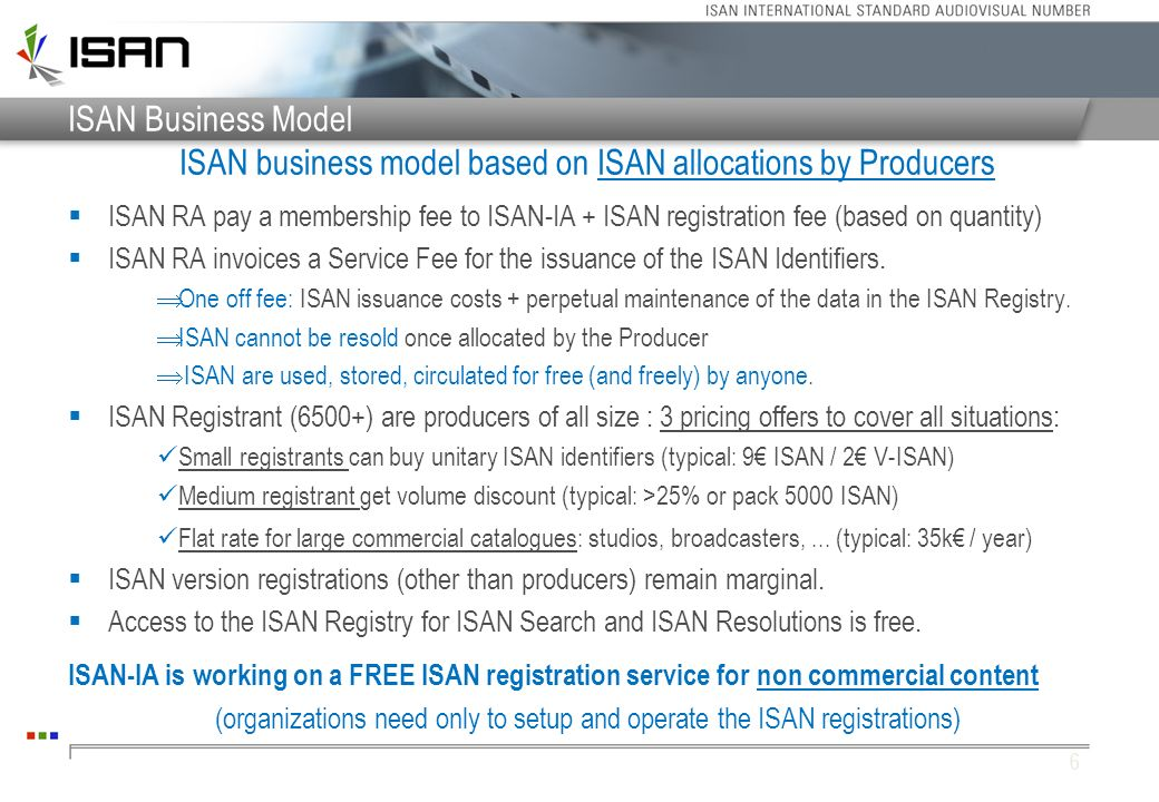 7 Means to Access the ISAN Registry WWW API Files (Bulk) ISAN Registry Accessible 24x7 Operational since 2005 (99,9% up time) Scalable & Redundant technologies ISAN Allocation (ISAN Registry ONLY) Work / Version Search (ISAN Registry or Local Copy) ISAN Resolution ISAN Registry or Local Copy) User Copy Scheduled Updates