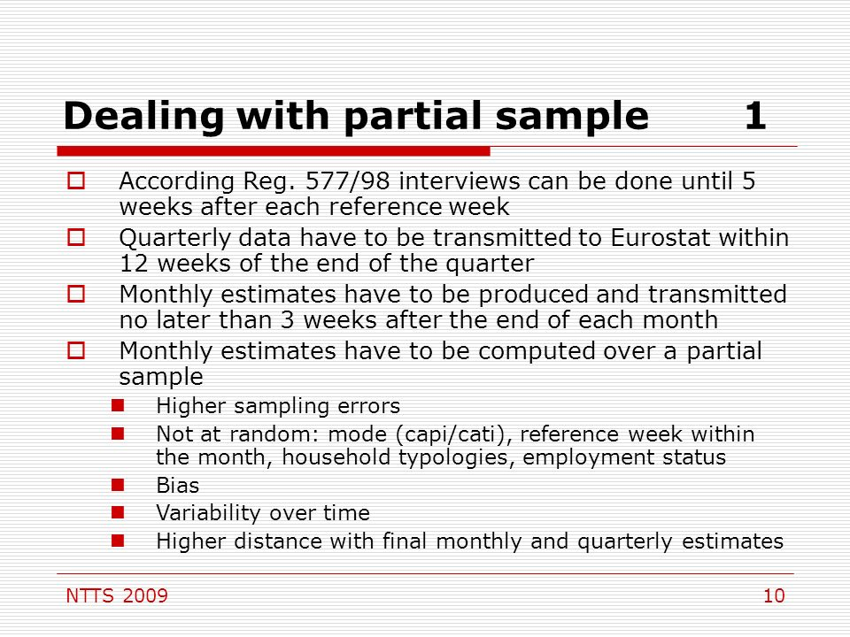 NTTS 200910 Dealing with partial sample1 According Reg.