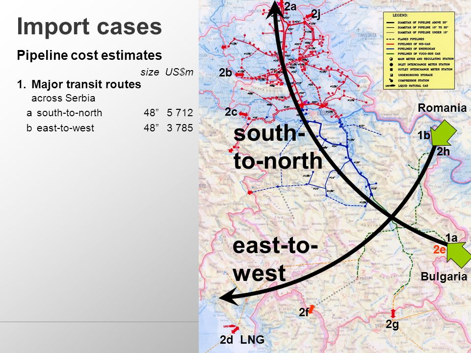 1a 2b 2c 2g 2a Import cases 1.Major transit routes across Serbia asouth-to-north b east-to-west Pipeline cost estimates sizeUS$m 2d LNG 2f 2e 1b 2h 2j south- to-north 1a 2e Bulgaria east-to- west 1b 2h Romania