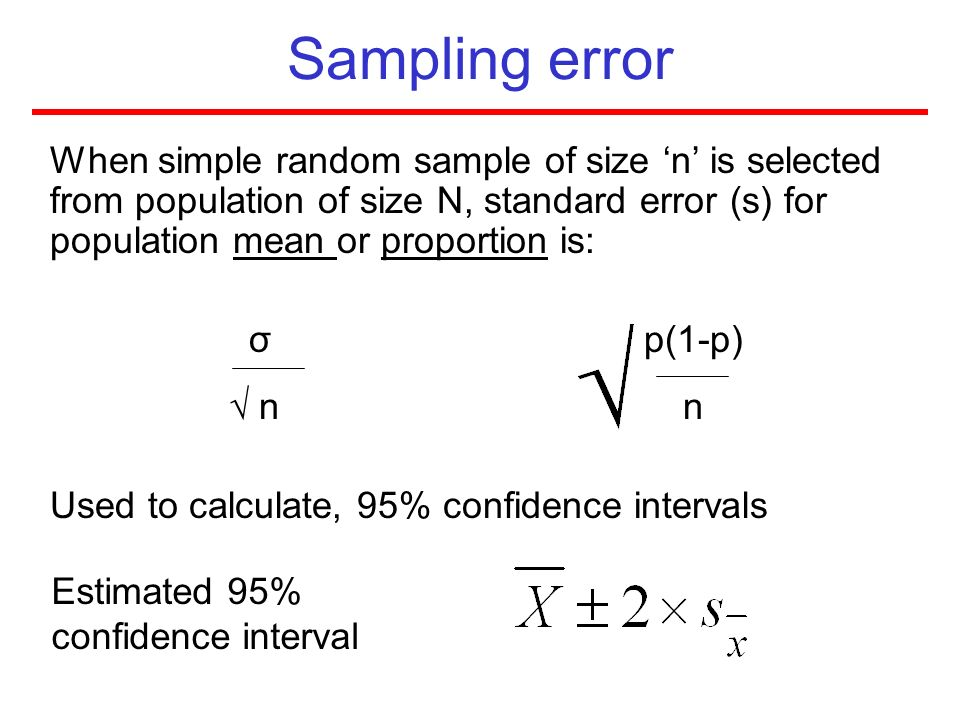 Sampling error When simple random sample of size n is selected from population of size N, standard error (s) for population mean or proportion is: σ p