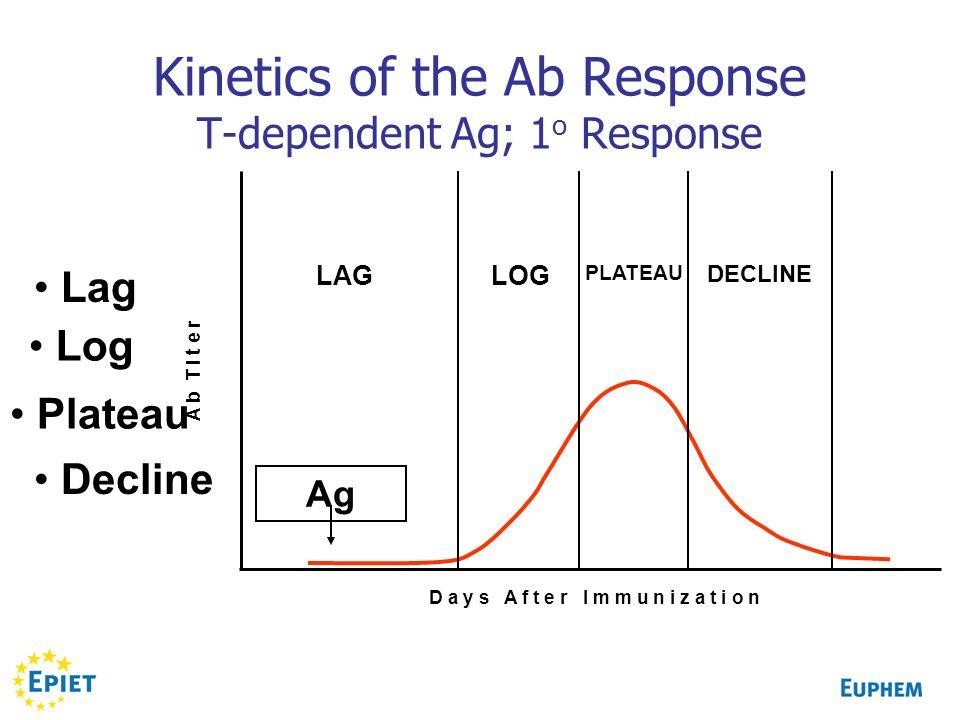Kinetics of the Ab Response T-dependent Ag; 1 o Response Lag Log Plateau Decline Ag D a y s A f t e r I m m u n i z a t i o n A b T i t e r LAG LOG DE