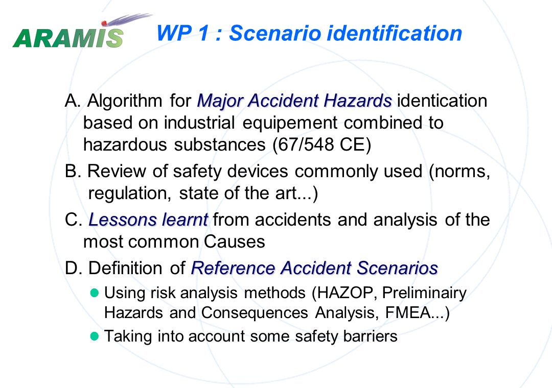 WP 1 : Scenario identification Reference Accident Scenarios State of the art in policies conception operation and control mitigation Lessons learnt fr