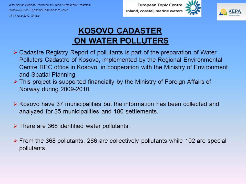 West Balkan Regional workshop on Urban Waste Water Treatment Directive (UWWTD) and SoE emissions to water 18-19 June 2013, Skopje Cadastre Registry Re