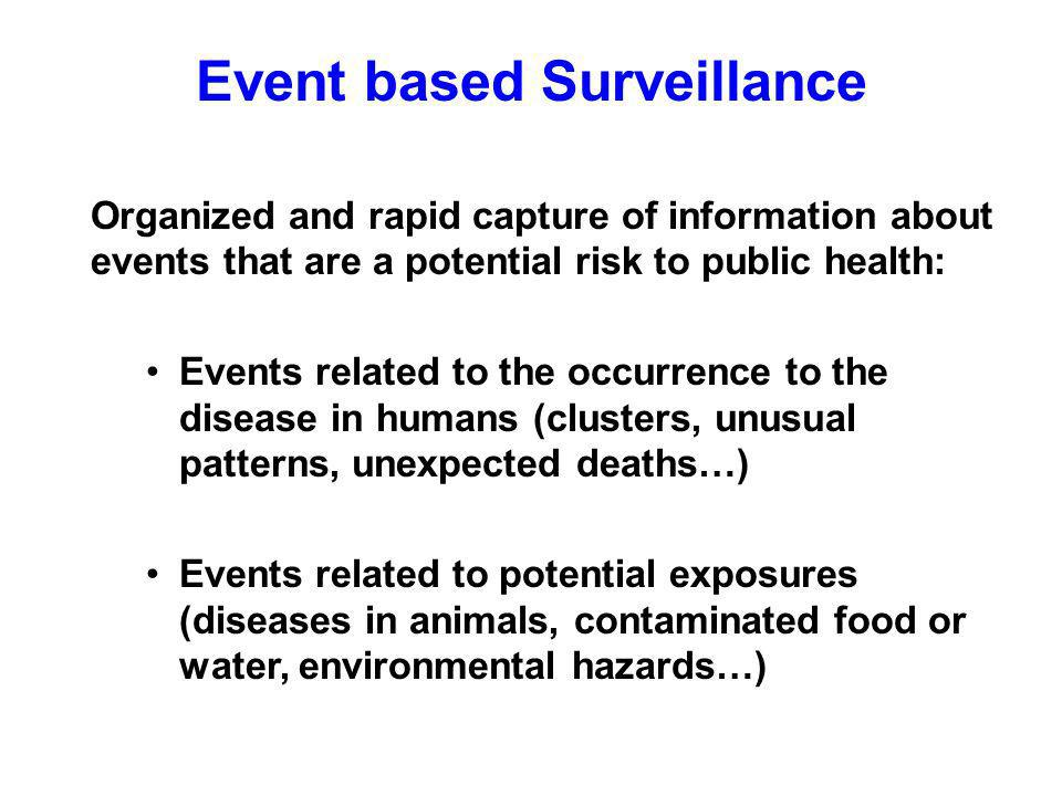 Event based Surveillance Organized and rapid capture of information about events that are a potential risk to public health: Events related to the occurrence to the disease in humans (clusters, unusual patterns, unexpected deaths…) Events related to potential exposures (diseases in animals, contaminated food or water, environmental hazards…)