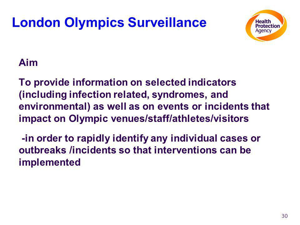 Aim To provide information on selected indicators (including infection related, syndromes, and environmental) as well as on events or incidents that impact on Olympic venues/staff/athletes/visitors -in order to rapidly identify any individual cases or outbreaks /incidents so that interventions can be implemented 30 London Olympics Surveillance