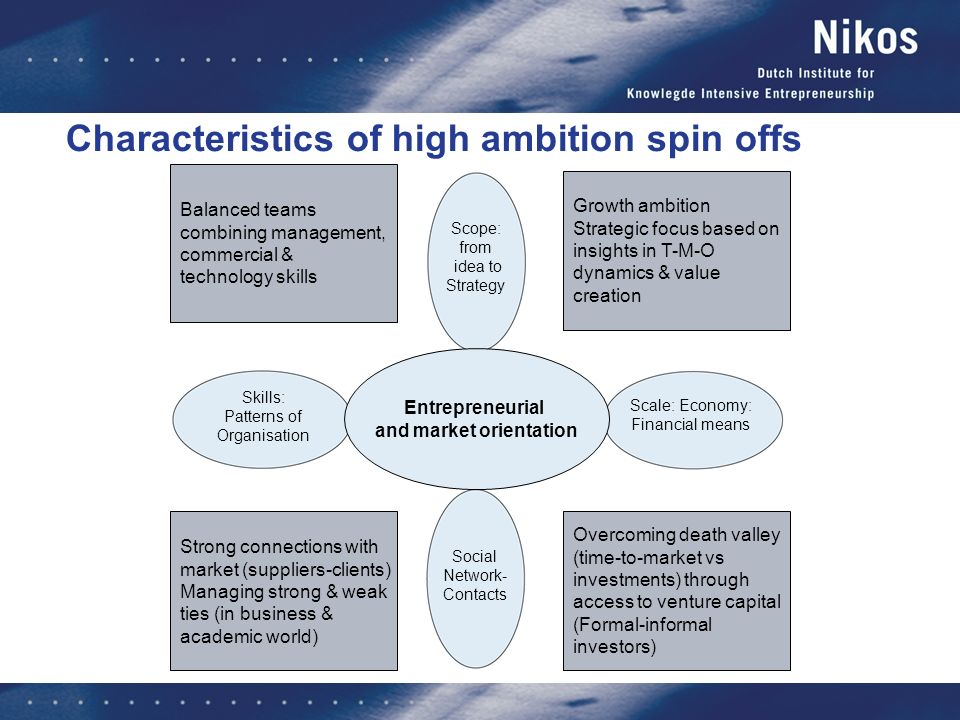 Characteristics of high ambition spin offs Contacts with: - clients - suppliers - experts - colleagues - support agents Ideas Assessing the opportunity Strategic processes Business plan Culture, values, norms Facilities Personelrrangements & Systems Knowledge Own capital bridging development period Financing investments - Venture Capital - Loans Scope: from idea to Strategy Social Network- Contacts Skills: Patterns of Organisation Scale: Economy: Financial means Entrepreneur and Enterprise Balanced teams combining management, commercial & technology skills Strong connections with market (suppliers-clients) Managing strong & weak ties (in business & academic world) Growth ambition Strategic focus based on insights in T-M-O dynamics & value creation Overcoming death valley (time-to-market vs investments) through access to venture capital (Formal-informal investors) Entrepreneurial and market orientation
