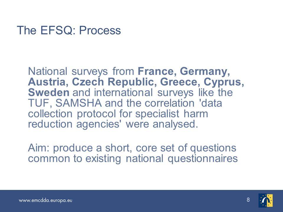 88 The EFSQ: Process National surveys from France, Germany, Austria, Czech Republic, Greece, Cyprus, Sweden and international surveys like the TUF, SA