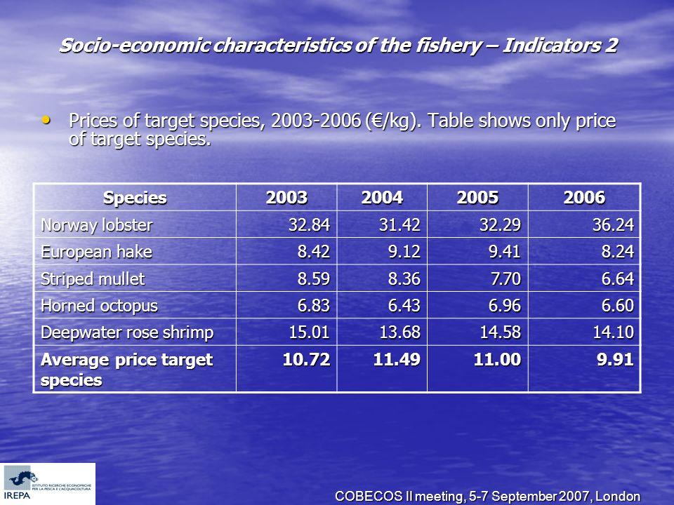 COBECOS II meeting, 5-7 September 2007, London Socio-economic characteristics of the fishery – Indicators 2 Prices of target species, 2003-2006 (/kg).