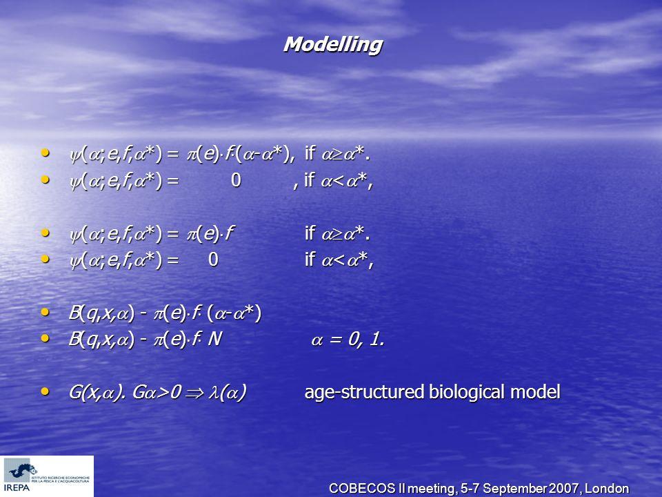 COBECOS II meeting, 5-7 September 2007, London Modelling ( ;e,f, *) = (e) f ( - *), if *. ( ;e,f, *) = (e) f ( - *), if *. ( ;e,f, *) = 0, if < *, ( ;