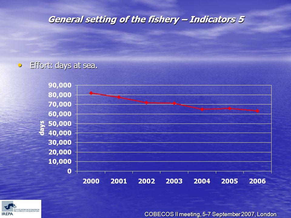 COBECOS II meeting, 5-7 September 2007, London General setting of the fishery – Indicators 5 Effort: days at sea. Effort: days at sea.
