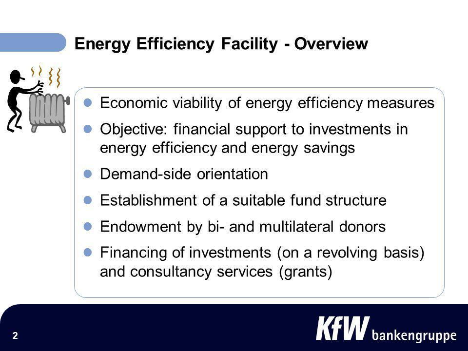 3 Energy Efficiency Facility - Tentative Structure Project 1 Project 2 Project 3 Project 4 Project 5 Consultant Donor 1 Energy Efficiency Facility Loans Project Executing Agency 1 Donor 2 Donor 3 Project Executing Agency 2 Refinancing lines Grant funds