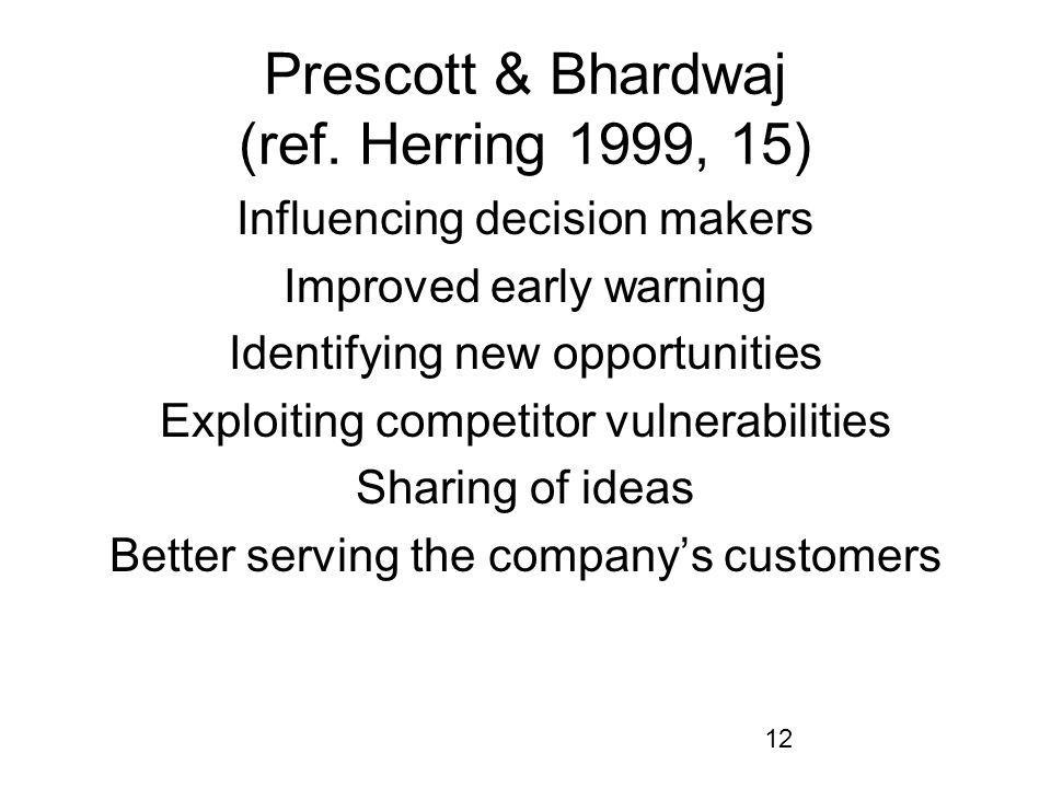 12 Prescott & Bhardwaj (ref. Herring 1999, 15) Influencing decision makers Improved early warning Identifying new opportunities Exploiting competitor