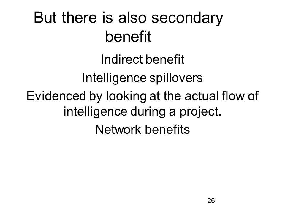 26 But there is also secondary benefit Indirect benefit Intelligence spillovers Evidenced by looking at the actual flow of intelligence during a project.