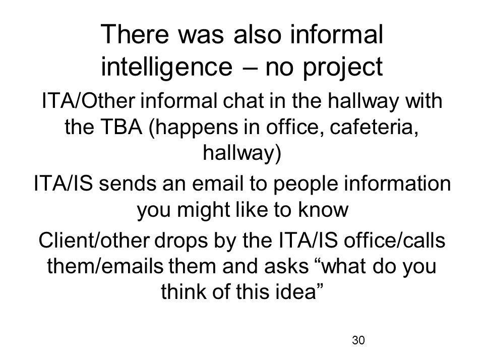 30 There was also informal intelligence – no project ITA/Other informal chat in the hallway with the TBA (happens in office, cafeteria, hallway) ITA/IS sends an email to people information you might like to know Client/other drops by the ITA/IS office/calls them/emails them and asks what do you think of this idea