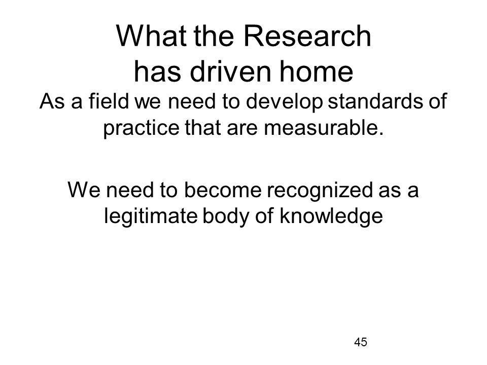 45 What the Research has driven home As a field we need to develop standards of practice that are measurable.