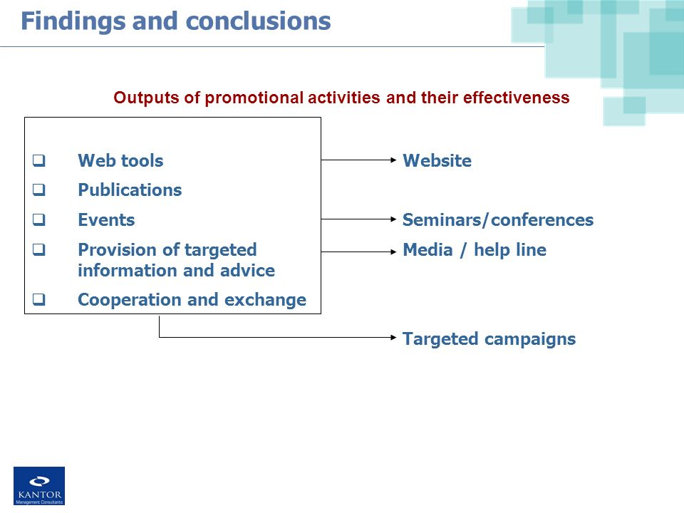 Findings and conclusions Web tools Publications Events Provision of targeted information and advice Cooperation and exchange Outputs of promotional activities and their effectiveness Website Seminars/conferences Media / help line Targeted campaigns