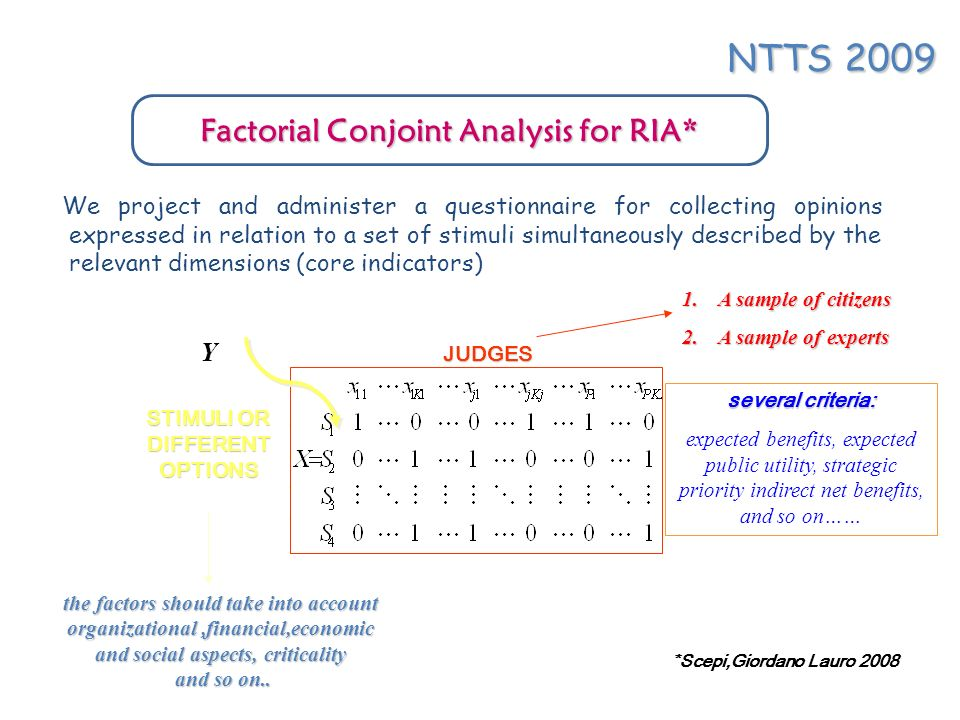 usually, judges are asked to compare different potential alternatives (in order to ranking or scoring), by the so called full profile method (oldest but still used): a limited number of attributes is used to describe the product or service, but sufficient cards or treatments are shown to one respondent in order to compute his/her utilities coefficients Ex.