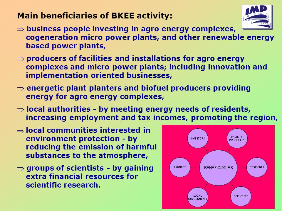 Main beneficiaries of BKEE activity: business people investing in agro energy complexes, cogeneration micro power plants, and other renewable energy b
