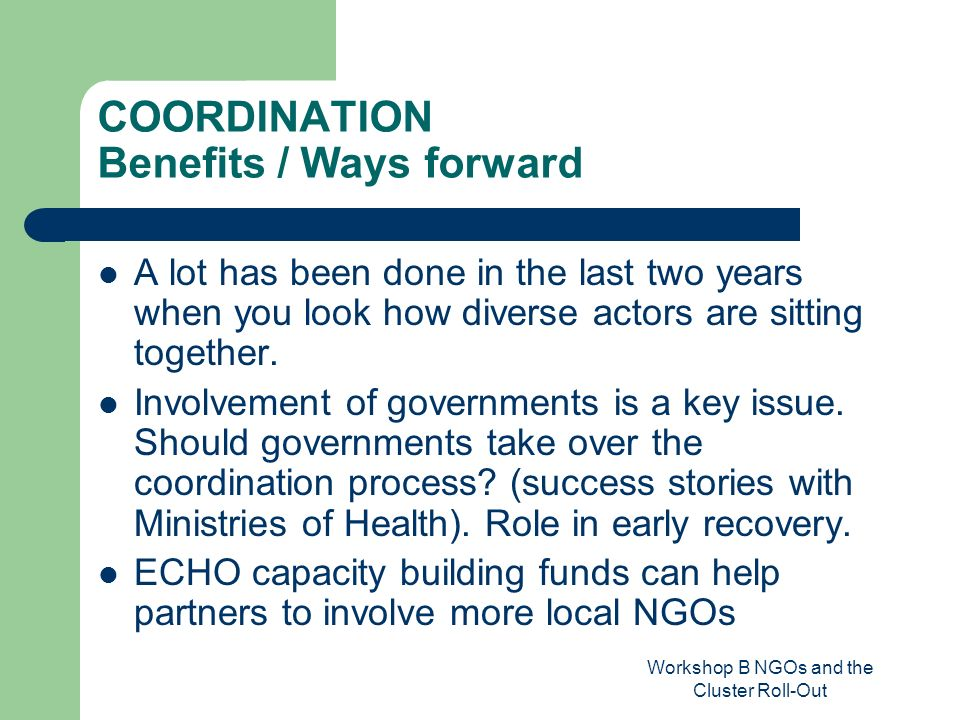 Workshop B NGOs and the Cluster Roll-Out COORDINATION Benefits / Ways forward A lot has been done in the last two years when you look how diverse acto