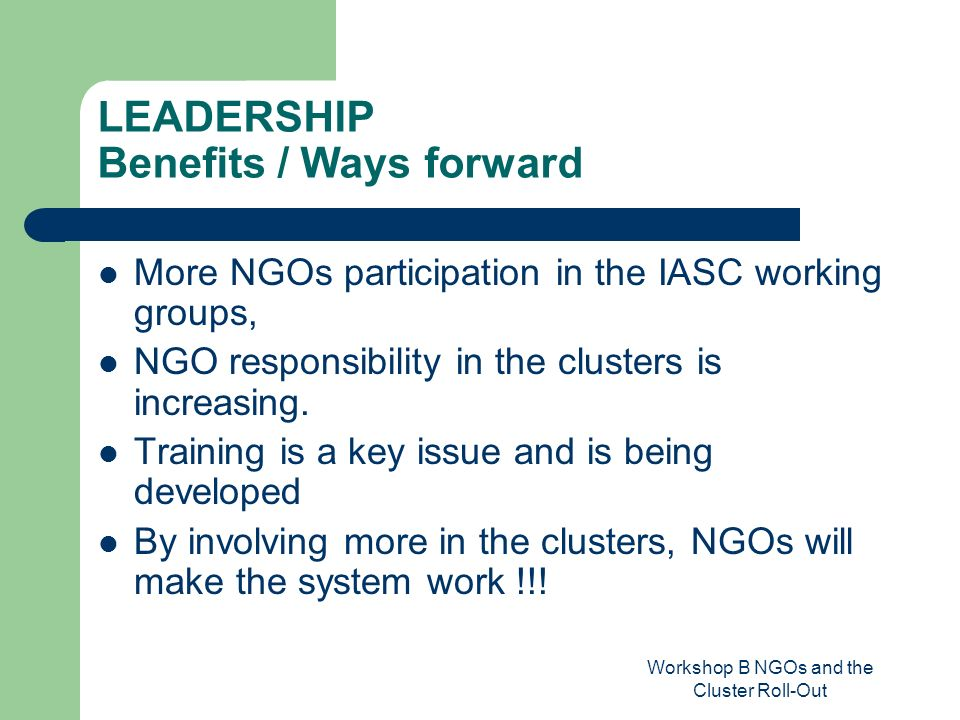 Workshop B NGOs and the Cluster Roll-Out LEADERSHIP Benefits / Ways forward More NGOs participation in the IASC working groups, NGO responsibility in