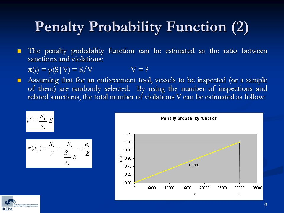 9 Penalty Probability Function (2) The penalty probability function can be estimated as the ratio between sanctions and violations: The penalty probability function can be estimated as the ratio between sanctions and violations: (e) = p(S|V) = S/VV = .