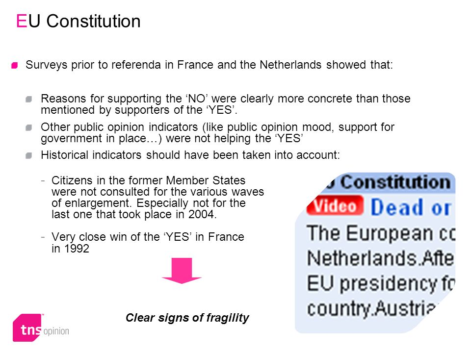 25 EU Constitution Surveys prior to referenda in France and the Netherlands showed that: Reasons for supporting the NO were clearly more concrete than