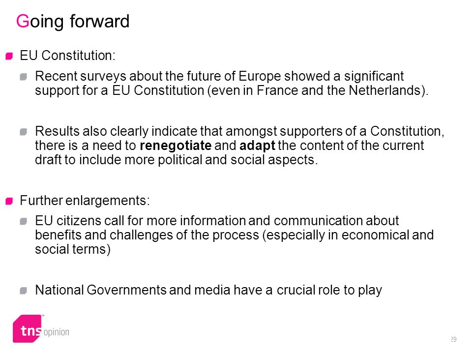 29 Going forward EU Constitution: Recent surveys about the future of Europe showed a significant support for a EU Constitution (even in France and the Netherlands).