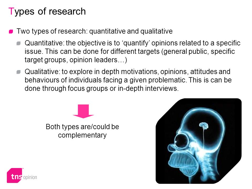 5 Types of research Two types of research: quantitative and qualitative Quantitative: the objective is to quantify opinions related to a specific issue.
