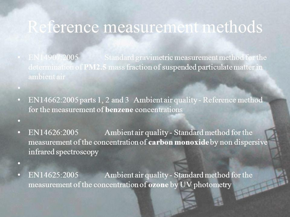 Reference measurement methods EN14907:2005Standard gravimetric measurement method for the determination of PM2.5 mass fraction of suspended particulate matter in ambient air EN14662:2005 parts 1, 2 and 3 Ambient air quality - Reference method for the measurement of benzene concentrations EN14626:2005Ambient air quality - Standard method for the measurement of the concentration of carbon monoxide by non dispersive infrared spectroscopy EN14625:2005 Ambient air quality - Standard method for the measurement of the concentration of ozone by UV photometry
