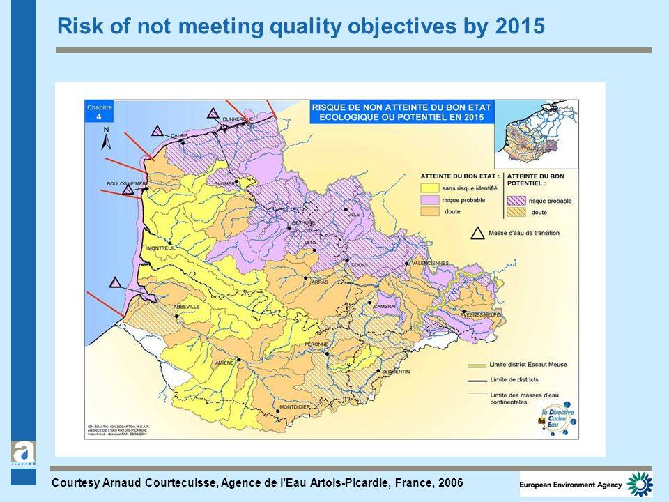 Risk of not meeting quality objectives by 2015 Courtesy Arnaud Courtecuisse, Agence de lEau Artois-Picardie, France, 2006