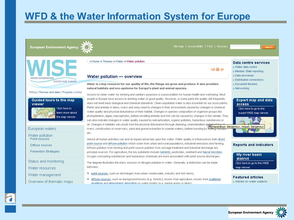 WFD & the Water Information System for Europe