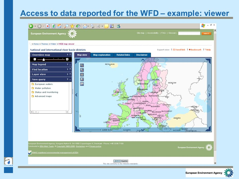 Access to data reported for the WFD – example: viewer