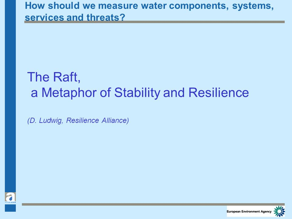 How should we measure water components, systems, services and threats? The Raft, a Metaphor of Stability and Resilience (D. Ludwig, Resilience Allianc