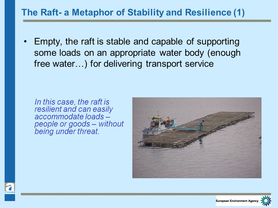 The Raft- a Metaphor of Stability and Resilience (1) Empty, the raft is stable and capable of supporting some loads on an appropriate water body (enou