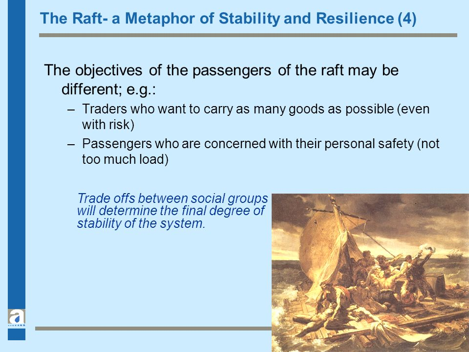 The Raft- a Metaphor of Stability and Resilience (4) The objectives of the passengers of the raft may be different; e.g.: –Traders who want to carry a