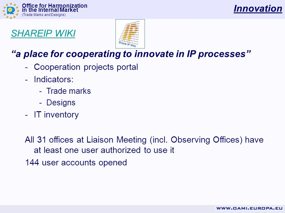 Office for Harmonization in the Internal Market (Trade Marks and Designs) Innovation Q: How much the wiki is actually used.