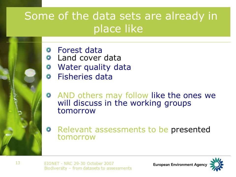 EIONET - NRC 29-30 October 2007 Biodiversity – from datasets to assessments 13 Some of the data sets are already in place like Forest data Land cover data Water quality data Fisheries data AND others may follow like the ones we will discuss in the working groups tomorrow Relevant assessments to be presented tomorrow
