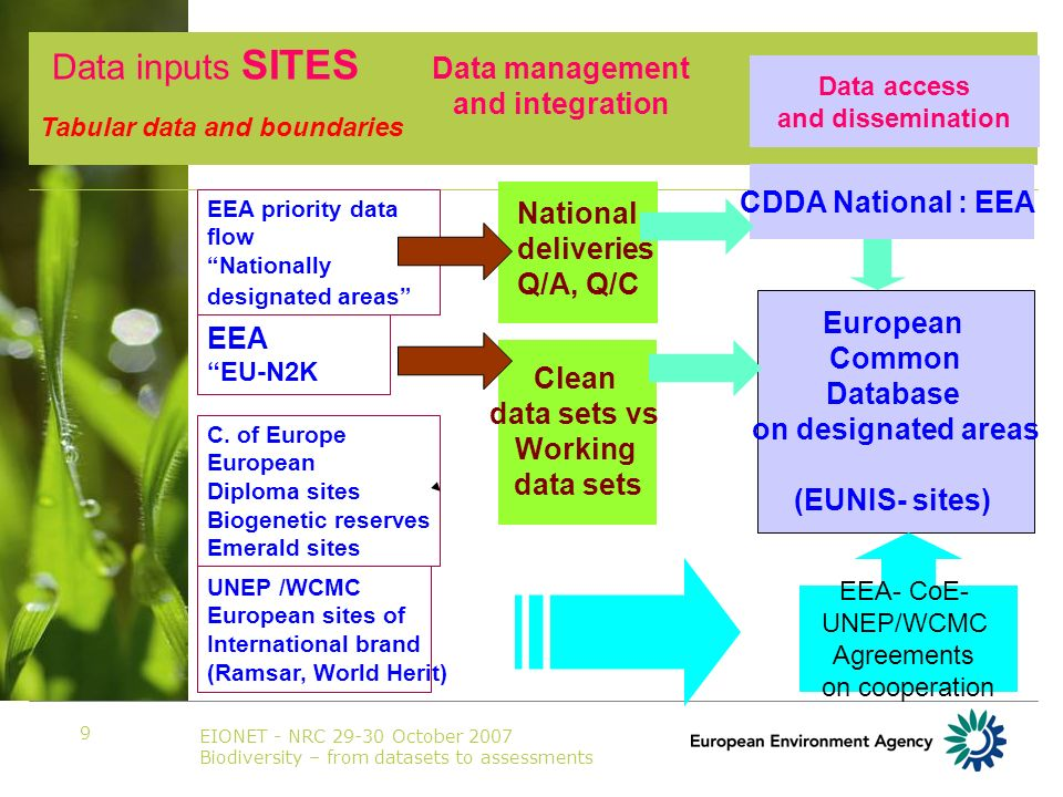 EIONET - NRC 29-30 October 2007 Biodiversity – from datasets to assessments 9 EEA priority data flow Nationally designated areas CDDA National : EEA Data access and dissemination National deliveries Q/A, Q/C Clean data sets vs Working data sets C.