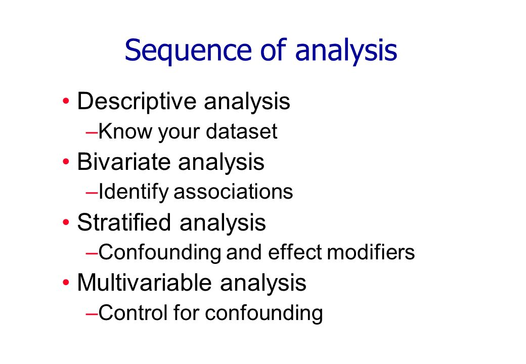 Sequence of analysis Descriptive analysis –Know your dataset Bivariate analysis –Identify associations Stratified analysis –Confounding and effect mod