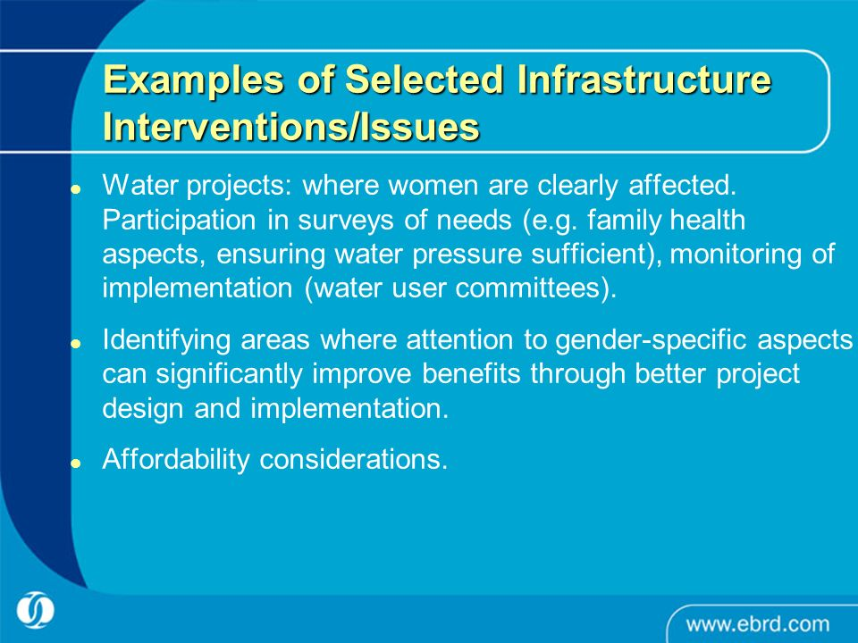 Examples of Selected Infrastructure Interventions/Issues Water projects: where women are clearly affected. Participation in surveys of needs (e.g. fam
