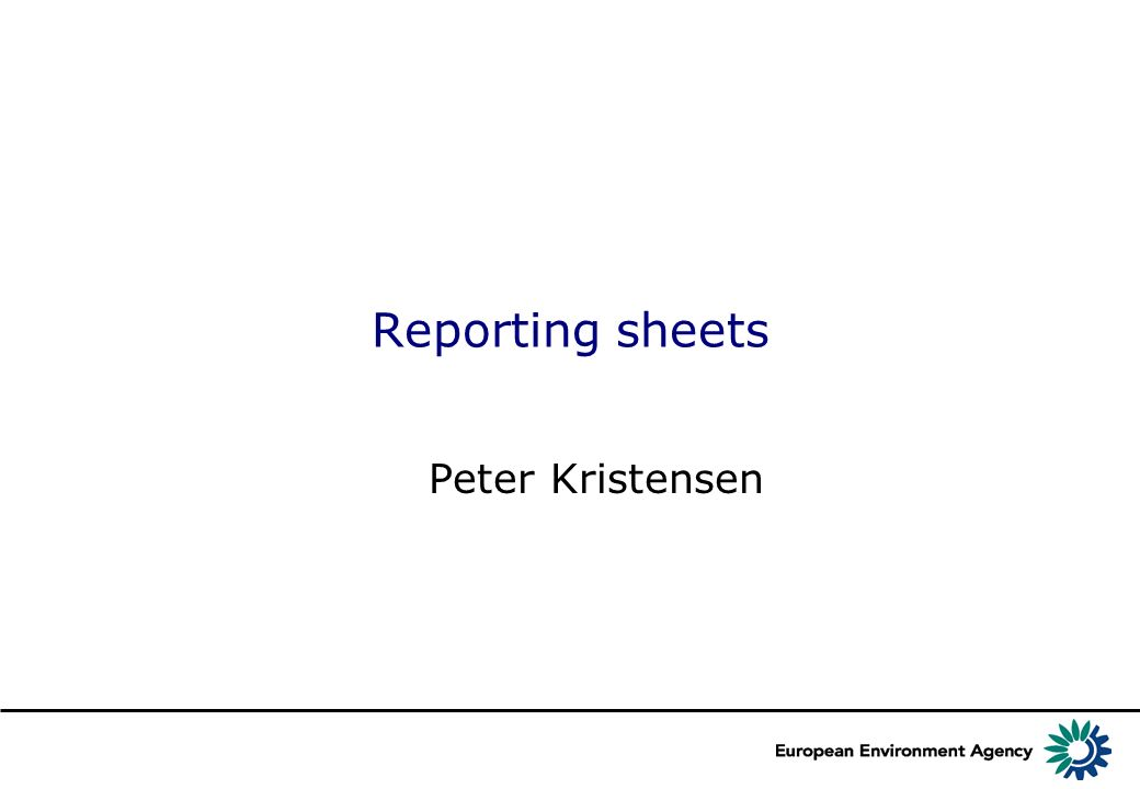 Reporting sheets Peter Kristensen