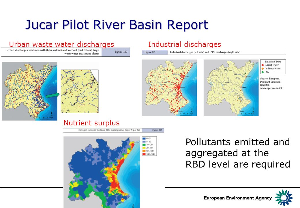 Jucar Pilot River Basin Report Urban waste water dischargesIndustrial discharges Nutrient surplus Pollutants emitted and aggregated at the RBD level are required