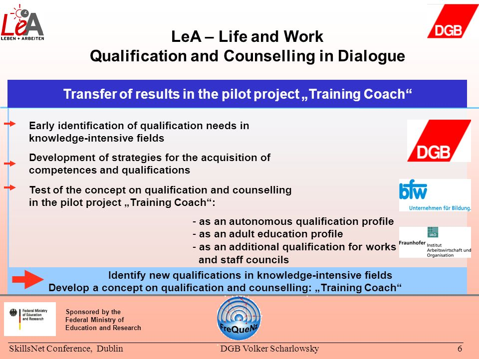 SkillsNet Conference, DublinDGB Volker Scharlowsky6 LeA – Life and Work Qualification and Counselling in Dialogue Identify new qualifications in knowl