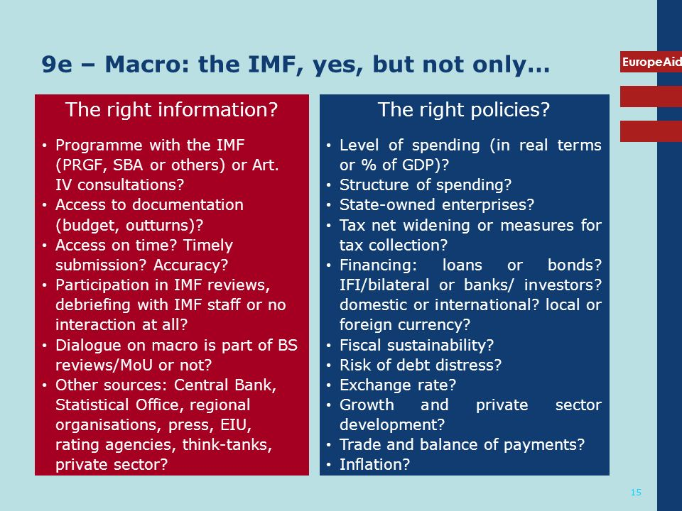 EuropeAid 15 9e – Macro: the IMF, yes, but not only… The right information.
